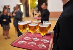 Kallt öl, bartender som sköter om service Arkivfoto