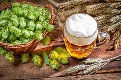 Kallt öl som göras av nya ingredienser Arkivbilder