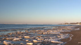 Kallt baltiskt hav i vinter med den iskalla stranden stock video