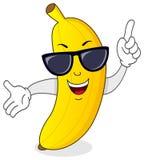 Kallt banantecken med solglasögon Arkivbild