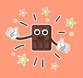 Kallt chokladtecken med en rolig framsida och händer Shower tummar upp S?tsaker f?r vektorillustrationklisterm?rke Tecknad filmch stock illustrationer