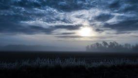 Kallt dimmigt landskap arkivfoto
