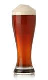 kallt exponeringsglas för öl över white Arkivfoto