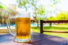 kallt exponeringsglas för öl arkivbild