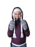 kallt flickaväder Arkivfoto