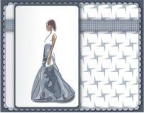 Kallt hälsningkort med den eleganta kvinnan i grå ballgown royaltyfri illustrationer