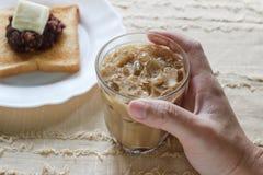 Kallt med is kaffe royaltyfri bild