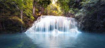 Kallt sötvattendamm i skog med den släta och silkeslena vattenfallet Royaltyfri Bild