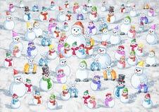 Kallt snöa som är många varm snö stock illustrationer