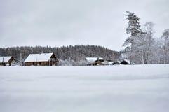 Kallt snöig vinterlandskap av lantliga hem Arkivfoto