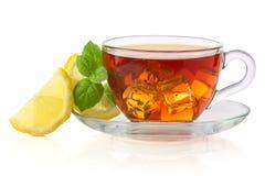 Kallt te med den iskuben, citronen och mintkaramellen  fotografering för bildbyråer