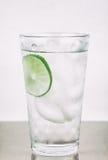 Kallt vatten i exponeringsglas med limefrukt Royaltyfria Foton