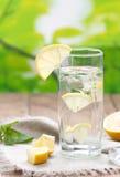 Kallt vatten med citronen royaltyfria foton