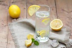 Kallt vatten med citronen arkivbild
