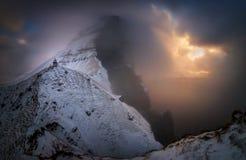 Kallur lighthouse snowstorm stock photos