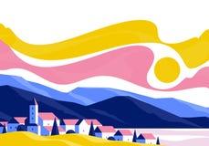 Kalm dorpslandschap met kleine oude gebouwen en huizen op een achtergrond van bergen en heuvels bij zonsondergang royalty-vrije illustratie