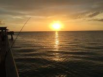 Kalm Pier Sunset Royalty-vrije Stock Foto