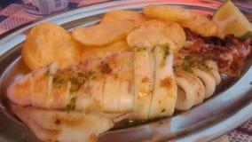 Kalmar beim Kleiden mit Chips Stockbilder