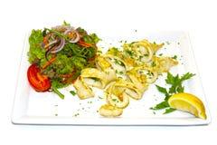 Kalmar Calamari salat Zitrone stockfotografie