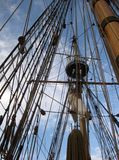 Kalmar Nyckel Masts and Rigging. A view of the Kalmar Nyckel's masts and rigging Stock Images