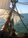 Kalmar Nyckel Ocean View. View from the foredeck of the Kalmar Nyckel under sail Royalty Free Stock Photos