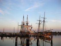 Kalmar Nyckel and Sultana at Dock. The Kalmar Nyckel and the Sultana docked together in Cape Charles, Maryland Royalty Free Stock Photos