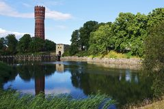 Kalmar water tower and park Royalty Free Stock Images