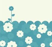 Kalme blauwe retro kaart met bloemen Stock Foto's