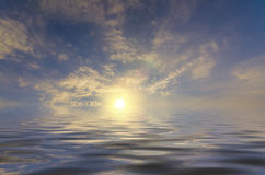 Kalme en heldere zonsondergang Royalty-vrije Stock Foto's