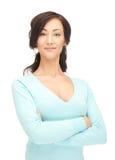 Kalme en vriendschappelijke vrouw Stock Foto
