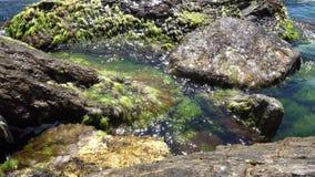 Kalme golven die de rotsen raken stock videobeelden