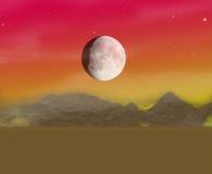 Kalme kleuren en maannacht Stock Afbeeldingen