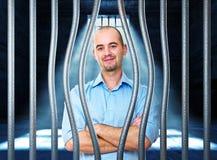 Kalme mens in gevangenis Royalty-vrije Stock Afbeelding