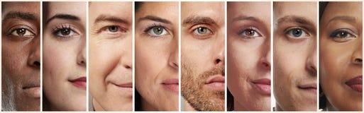 Kalme mensengezichten stock foto's
