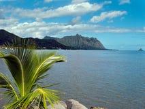 Kalme oceaan met bergachtergrond Stock Afbeeldingen