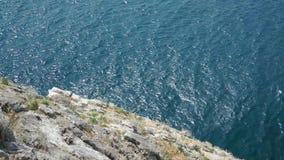 Kalme overzees onder een massieve rots stock videobeelden