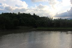 Kalme te ontspannen rivier aardige plaats Stock Foto's