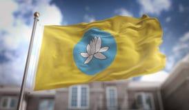 Kalmykia sjunker tolkningen 3D på byggnadsbakgrund för blå himmel Royaltyfri Bild