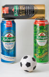Kalnapilis Pilsner, Original and Grand Select premium beer on white. Royalty Free Stock Photo