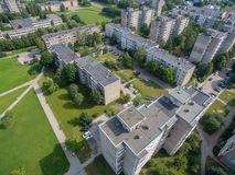 Kalnieciai区鸟瞰图在考纳斯 免版税图库摄影