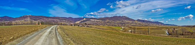 Kalnik mountain natural scenery panorama. Prigorje region, Croatia Royalty Free Stock Images