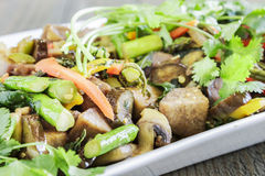 Kalo Stir-Fry. Hawaiian stir-fry made with taro, kale, broccoli, carrot, onion, bell pepper and fern shoots Royalty Free Stock Photography