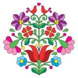 Kalocsai刺绣-与鸟的匈牙利花卉民间样式 库存例证