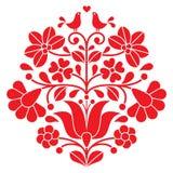 Kalocsai红色刺绣-与鸟的匈牙利花卉民间样式 皇族释放例证
