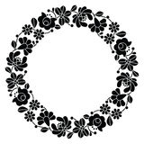 Kalocsai black embroidery in circle - Hungarian floral folk pattern Stock Photography