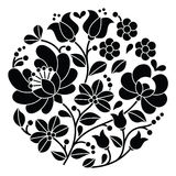 Kalocsai black embroidery - Hungarian round floral folk pattern Stock Image