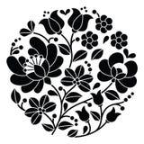 Kalocsai black embroidery - Hungarian round floral folk pattern Stock Image