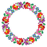 Kalocsai embroidery in circle - Hungarian floral folk pattern Stock Images