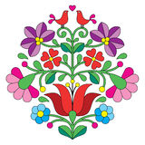 Kalocsai embroidery - Hungarian floral folk pattern with birds. Vector background - traditional pattern from Hungary isolated on white Stock Image