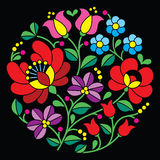 Kalocsai embroidery - Hungarian round floral folk pattern on black Royalty Free Stock Photos